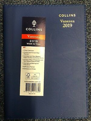 2019 Collins Vanessa A5 Week to View Opening WTV Spiral Diary 385.V99-19 - RED