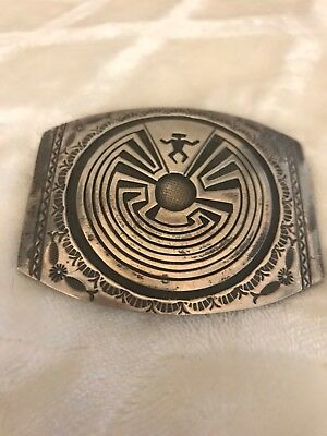 Signed Native American Sterling Silver Handmade Belt Buckle Handmade