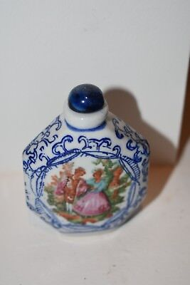 Antique Snuff Bottle Blue & White Ceramic w/ Hand Painted Victorian Style Scene