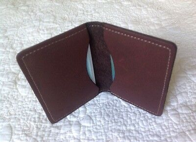 USA Made - BROWN - Real Leather Credit & ID Card Case Holder Slim Thin Wallet