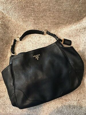 9b8848974fb6 Authentic PRADA MILANO Logos Hobo Shoulder Bag Leather Black Made In Italy