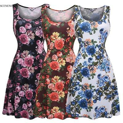 Sleeveless Fit and Flare Floral Print Casual Tank Dress Summer, Autumn Women