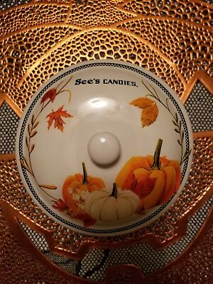 HALLOWEEN See's Candy Dish Sweet Harvest Ceramic Pumpkins Leaf Candy Dish