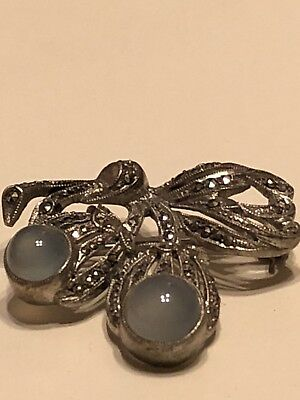 Antique Vintage 830S Sterling Silver Marcasite Jelly Belly Bow Pin Brooch Rare