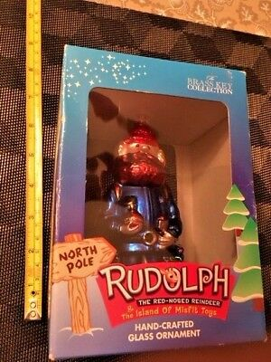RUDOLPH RED-NOSED REINDEER GLASS ORNAMENT YUKON CORNELIUS 2002_New