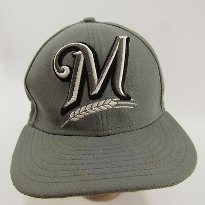 Milwaukee Brewers Fitted Hat Size 7 1 4 All Gray 59Fifty New Era MLB Cap 13d45d299eb5