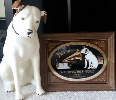"""Vintage RCA VICTOR NIPPER 18"""" Dog Store Ad Display w/ His Master's Choice Mirror"""