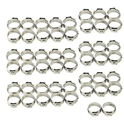 "50Pcs 3/4"" inch PEX Stainless Steel Clamp Cinch Rings Crimp Pinch Fitting"