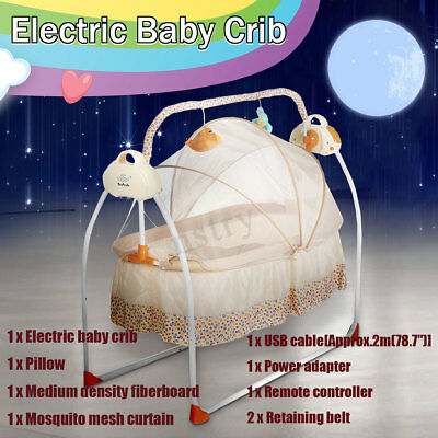 Electric Kids Baby Crib Cradle Infant Rocker Auto-Swing Sleep Curtain Bed Cots
