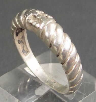 Antique Edwardian Art Deco Sterling Silver Ribbed w/ Hobnailed Top Ring Jewelry