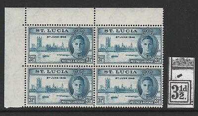 ST LUCIA 1946 VICTORY 3½d WITH 'SMUDGE OVER 3½d FLAW' R 1/2 SG 143 MNH.