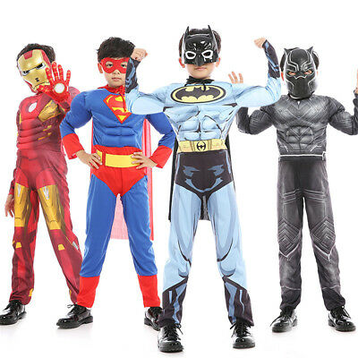 The Avengers Muscle Mask Costume Cosplay Jumpsuit Kids Carnival Fantasy Iron Man