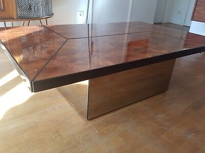 Table basse design vintage Willy Rizzo era 70