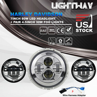 7Inch 80W Chrome Harley Daymaker LED Headlight Kit & 4.5Inch 60W Passing Lamp