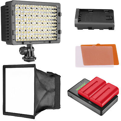 160 LED Dimmable Camera Video Light w/ Diffuser & Red Battery Charger Set