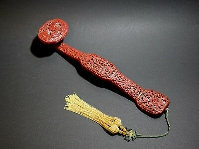 A Chinese Lacquered Ruyi Scepter, with Tassel