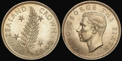 New Zealand: 1949 5/- or Crown KGVI (Proposed) Royal Visit, Silver, Nice Grade