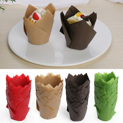 50Pcs Solid Color Cupcake Wrapper Liners Muffin Tulip Case Cake Paper Baking Cup