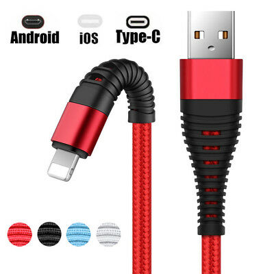USB For Android iPhone 8 7 6s 6 5 X Type-C Charger Charging Tensile Sync Cable