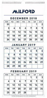 2019 Milford Wall Calendar 3 Months to View 290x620mm 441447 inc. Post