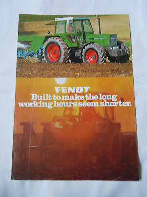 "@Vintage Fendt Tractor Brochure-""Built to make the long working hours"" @"