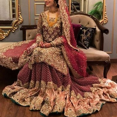 82dcd7a5e5 Red reception latest pakistani style indian baraat lehenga choli new  designer