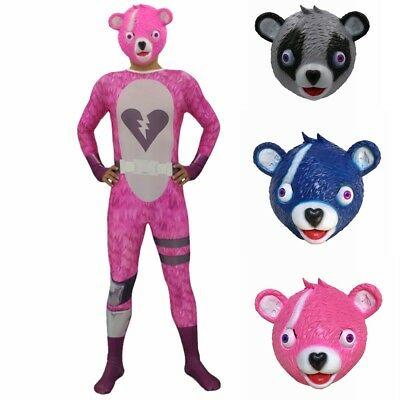 Fortnite Cuddle Team Leader Costume Fancy Dress Halloween Pink Bear Cosplay Mask