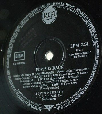 LP Elvis Presley -IS BACK- RCA LPM 2231 (only Record)