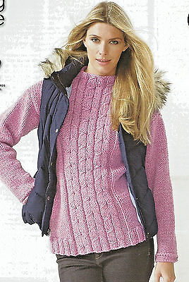 King Cole Easy Knit Ladies Chunky Sweater Plus Cable Sweater