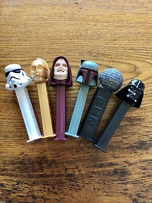 Vintage STAR WARS Set Of 6 Pez Dispensers Unused In perfect Condition!!!