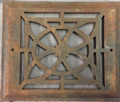 Antique Cast Iron Fireplace Grill Grate 7x9 Wall Ceiling Vent Old Vtg 27-17B