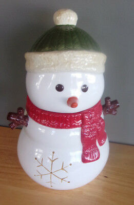 """Harry And David Snowman Cookie Jar Wearing Red Scarf  8.25""""l X 7.5""""w X12.25""""h"""