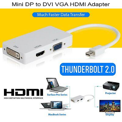 Mini Display Port Thunderbolt to VGA HDMI DVI Adapter 1 In 3 Out For MacBook Pro
