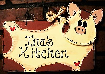 PIG KITCHEN SIGN Personalized NAME Wall Hanger Hanging PLAQUE Country Wood Decor