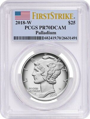 2018-W $25 American Eagle 1oz Palladium Proof Coin PCGS PR70DCAM First Strike-BF