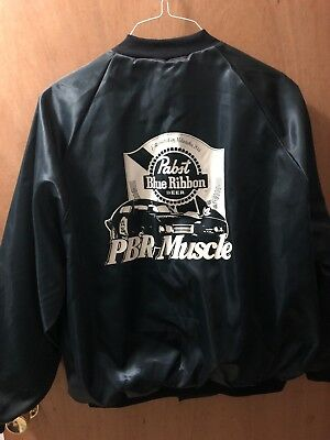 PABST BLUE RIBBON Beer XL VINTAGE RARE PBR MUSCLE CAR GTO Satin Jacket Blue