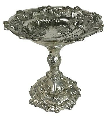 Antique French Victorian Baroque Louis XV Rococo Silverplate Compote Bowl Dish