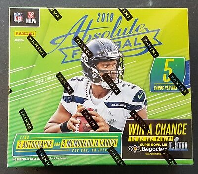 Panini Absolute Football NFL 2018 Hobby Pack Minibox 2018 3 auto + 3 Memorabilia