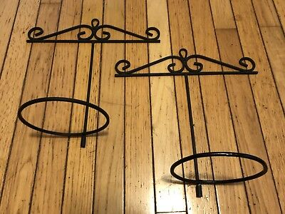 2 COLLAPSIBLE WROUGHT IRON PLANT HANGERS BASKET POT HOLDERS Same Day Shipping!!