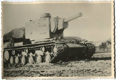 German Wwii Archive Photo: Russian Kv-2 Tank, Captured And Reused By Wehrmacht