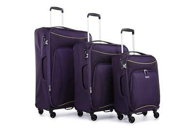 Antler Zeolite 3 Piece Softside Roller Luggage Case Set - Purple