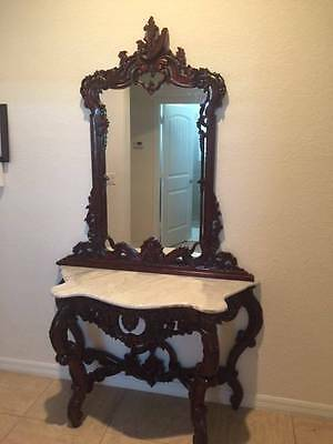 Antique Style Reproduction Mahogany Marble Top Console Table and Mirror.