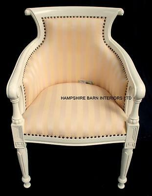 Dutch Tub Arm Chair Antique White Cream Gold Yellow Regency Stripe  Fabric Salon