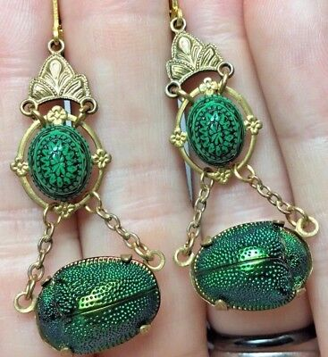 Antique Victorian Real Scarab Genuine Beetle Earrings EGYPTIAN REVIVAL