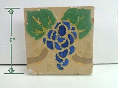 "VERY RARE * Grueby Tiles * (4 COLOR) w/BLUE GRAPES * 6"" x 6"" *"