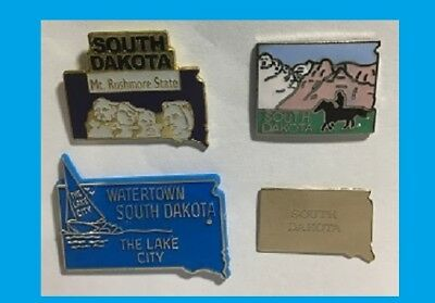 4 South Dakota Pins,Watertown,Brass State, Badlands & Mt Rushmore National Park