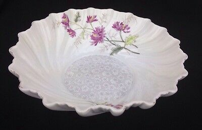 Antique Transferware Swirled Ceramic China Center Bowl Floral Decoration