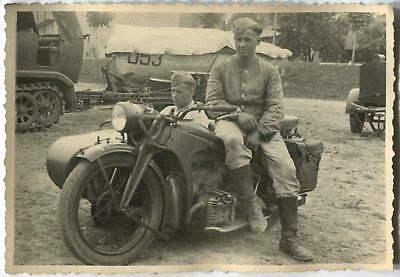 German Wwii Archive Photo: Wehrmacht Soldiers On Motorcycle With Sidecar
