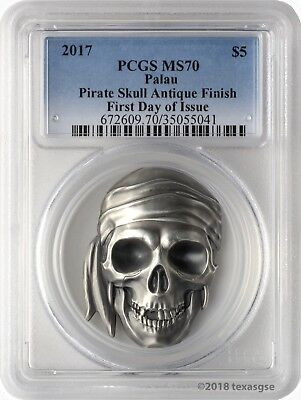 2017 $5 Palau Pirate Skull Antique Finish 1 oz. .999 Silver Coin PCGSMS70 FD