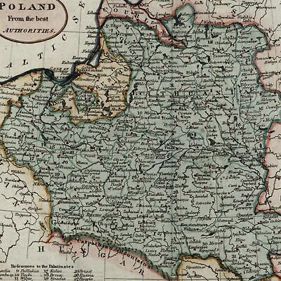 Poland Lithuania from best Authorities c.1800 beautiful old map hand colored